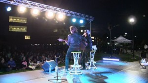 Elliott Yamin and Eric Scullin perform in front of a record crowd at UCCS.