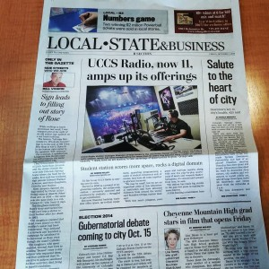 UCCS Radio is featured on the front page of the Local/State/Business section of the Colorado Springs Gazette.
